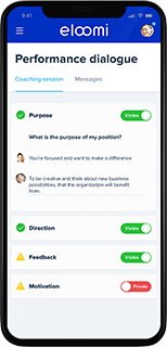 coaching dialogue screen from eloomi platform on mobile display