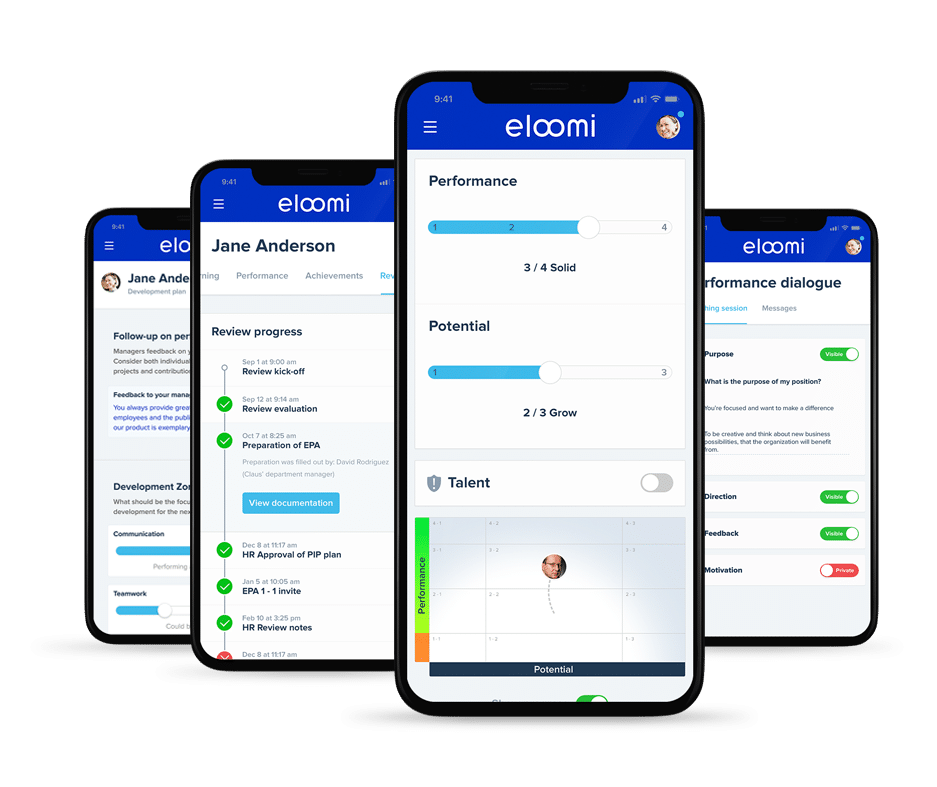 eloomi performance reviews screens on mobile devices